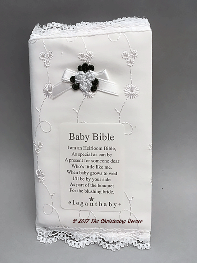 Babys Bible with Delicate Hand Embroidered Cover