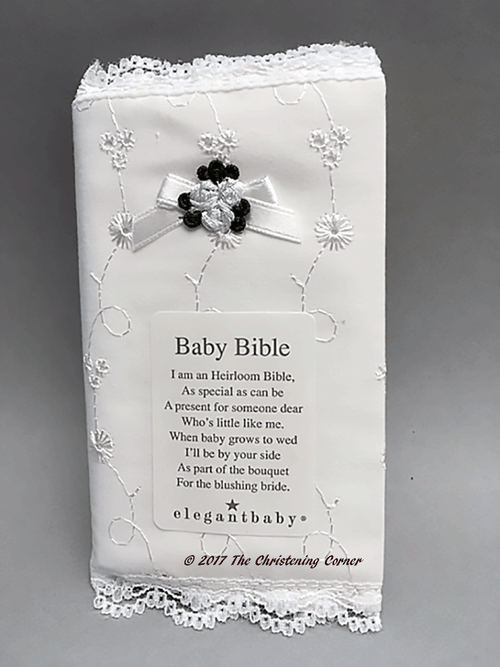 Baby's Bible with Delicate Hand Embroidered Cover