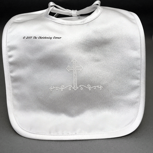 Matte Satin Baptismal Cross Bib