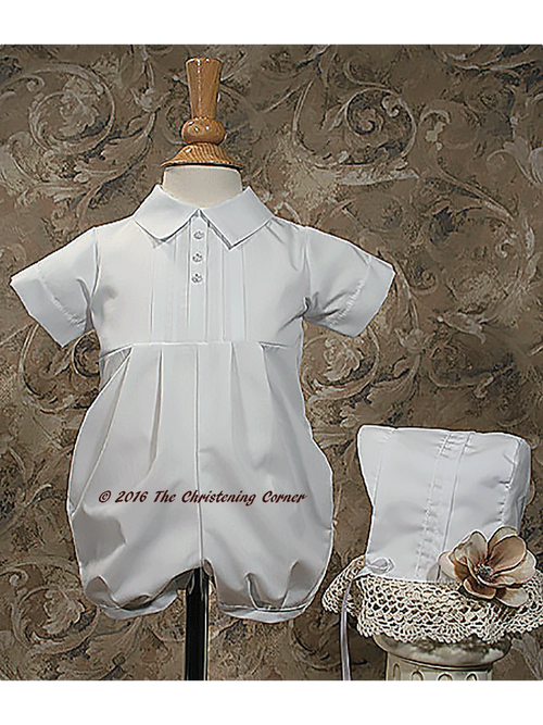 Boys Pintuck Christening Romper