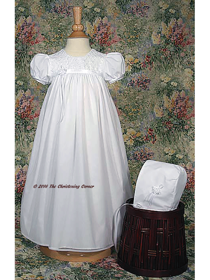 nylon tricot girls embroidered baptism gown | The Christening Corner