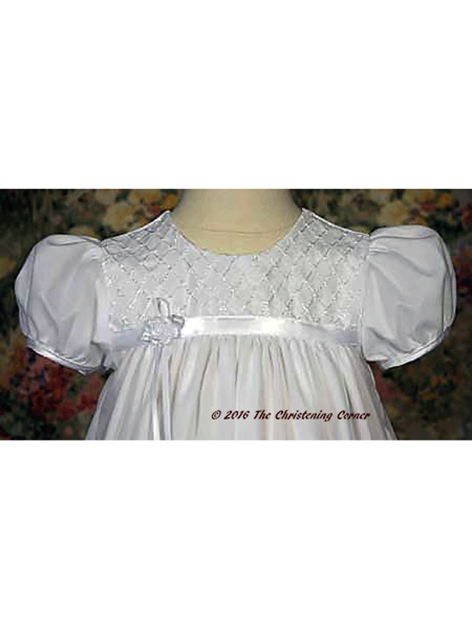 Embroidered Nylon Tricot Baptism Gown - bodice