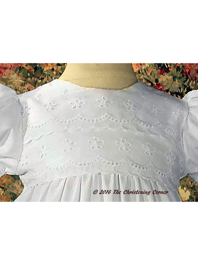 Cotton Eyelet Christening Dress with Lace Border - bodice