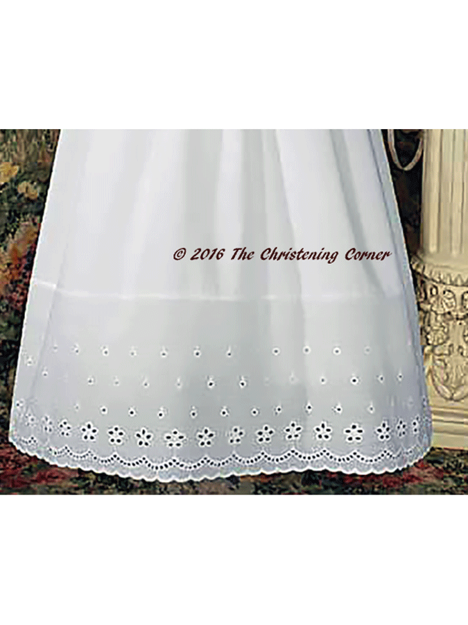 Cotton Eyelet Christening Dress with Lace Border - hem