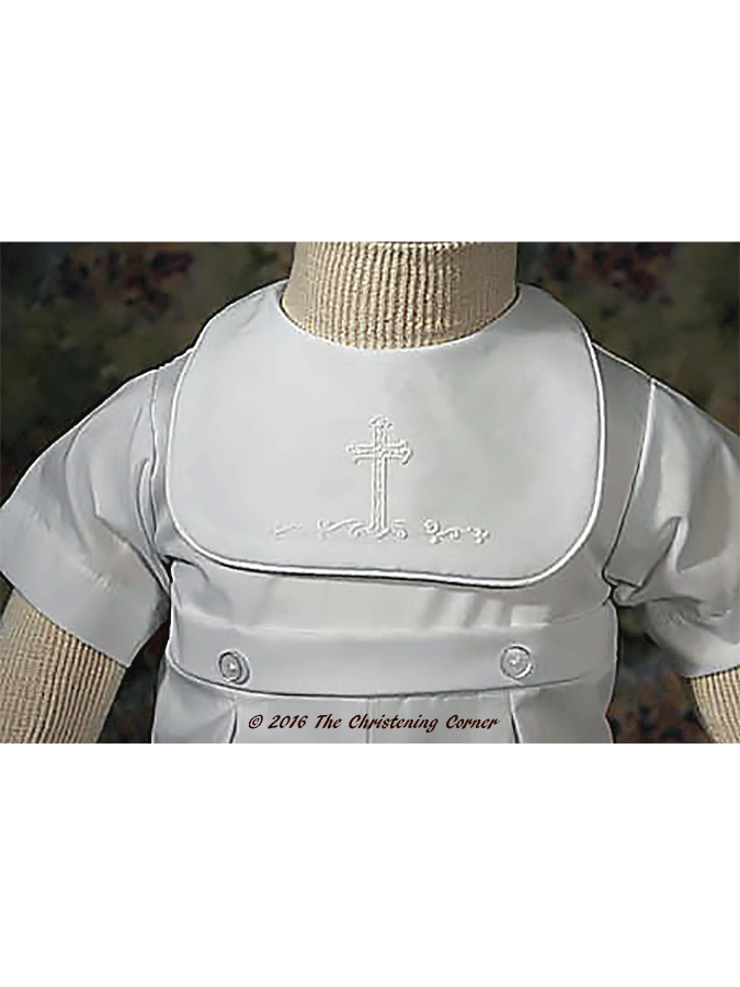 Boys Cross Christening Romper - bodice