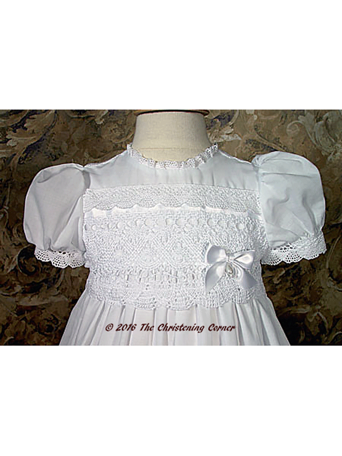 Cotton Batiste Gown with Cluny Lace - bodice