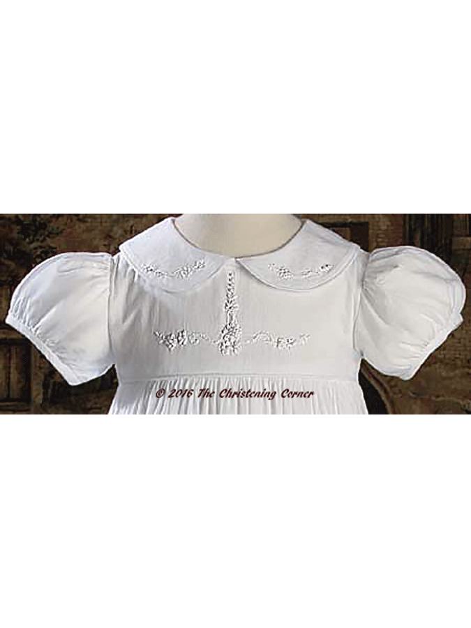 Hand Embroidered Girls Christening Gown - bodice