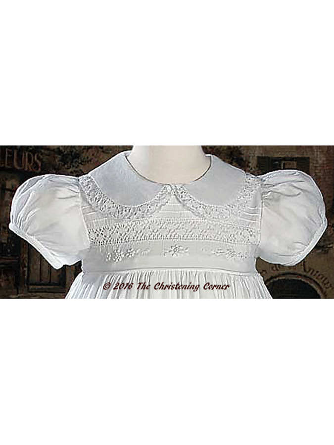 Hand Embroidered Heirloom Christening Gown - bodice
