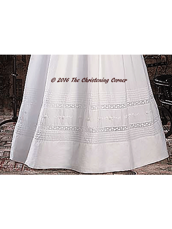 Hand Embroidered Heirloom Christening Gown - hem