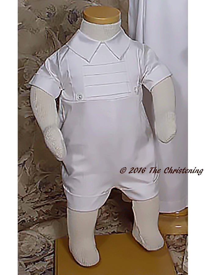 Boys Cotton Christening Gown & Romper Set - romper