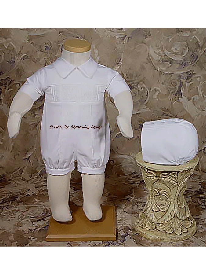 Boys Smocked Christening Romper