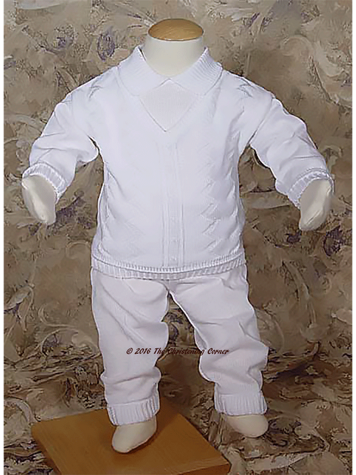 Cotton Knit Christening Outfit