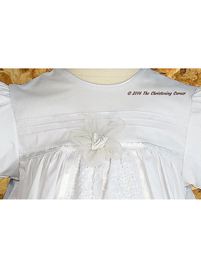Lace & Pintuck Split Panel Christening Gown - bodice