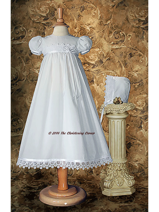 Italian Lace & Ribbon Christening Dress