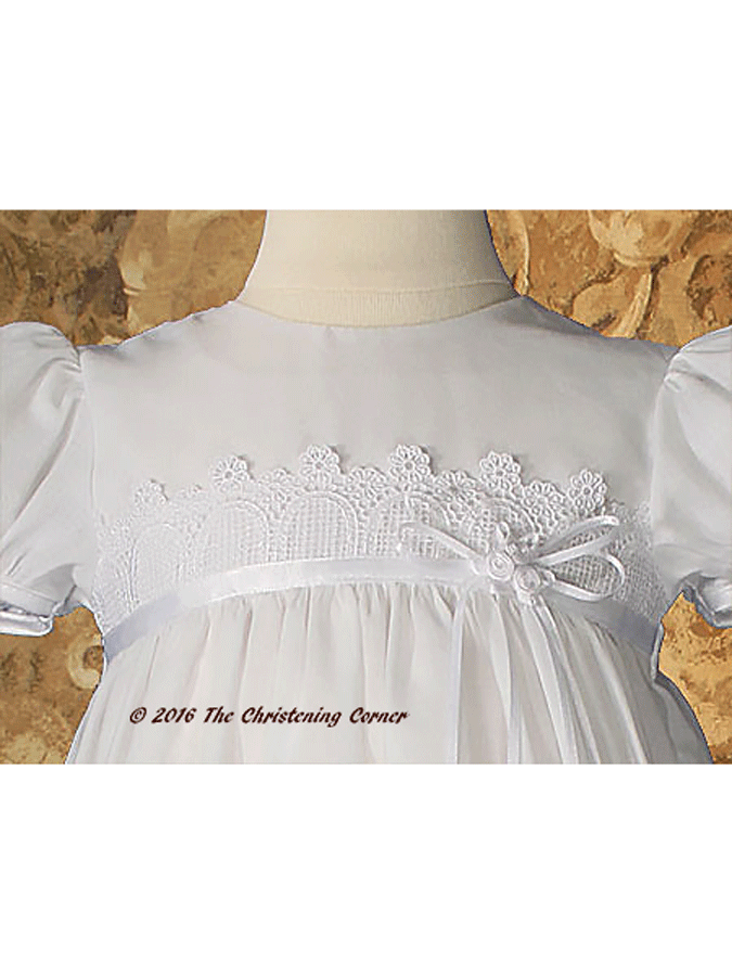 Italian Lace & Ribbon Christening Dress - bodice