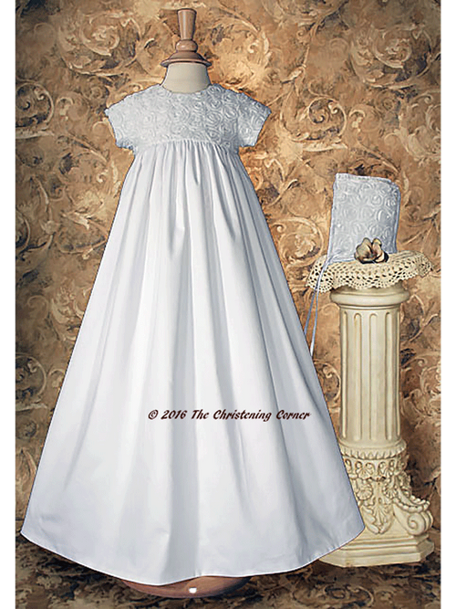Cotton Sateen Christening Gown with Rosette Netting