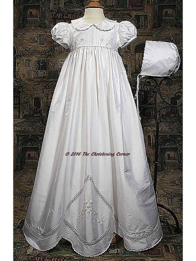 Silk Dupioni Christening Gown with Hand Embroidery