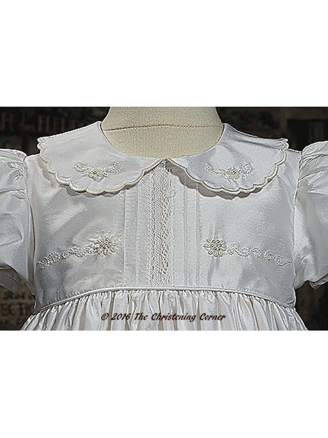Silk Dupioni Christening Gown with Hand Embroidery - bodice