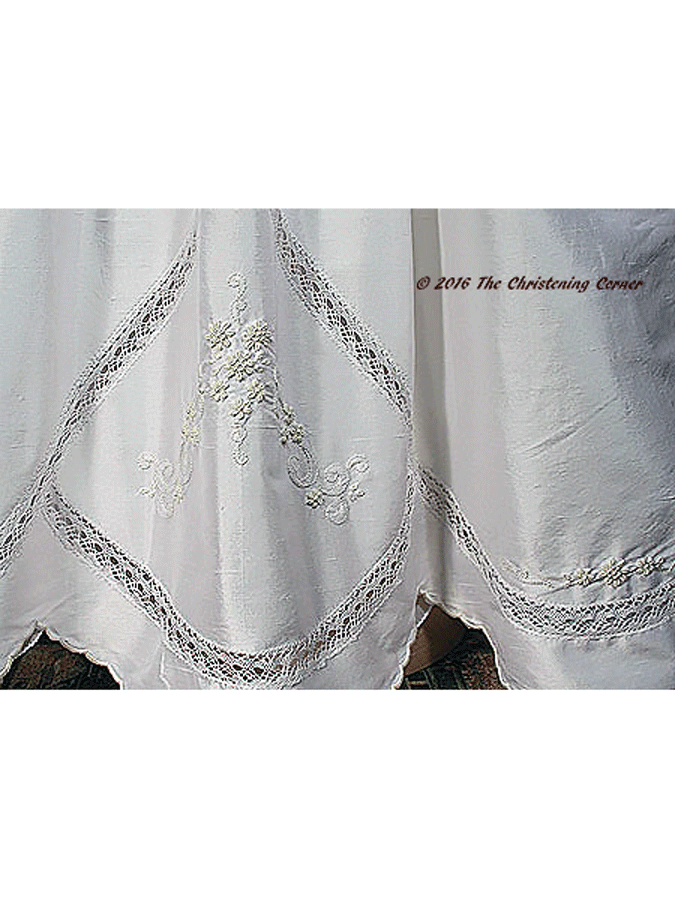 Silk Dupioni Christening Gown with Hand Embroidery - hem