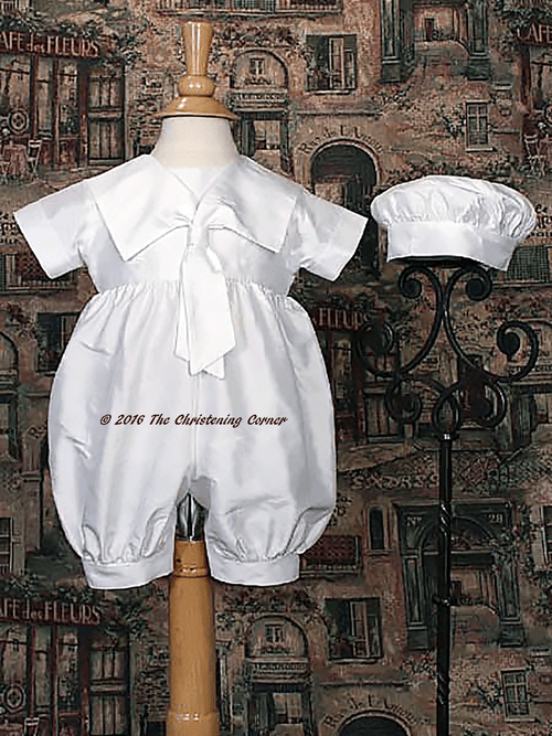 Nautical Silk Christening Romper for Boy or Girl
