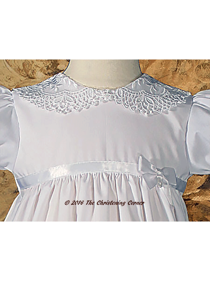 Baptism Dress with Lace Collar - bodice