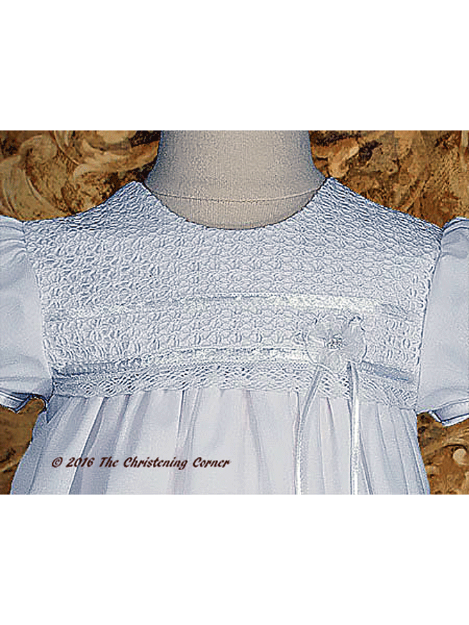 Tricot Overlay & Lace Christening Dress - bodice