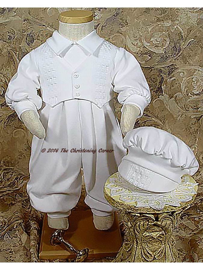 Cotton Interlock Windowpane Christening Outfit