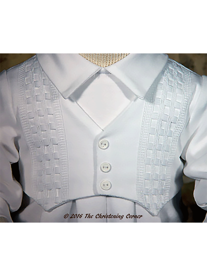 Cotton Interlock Windowpane Christening Outfit - bodice