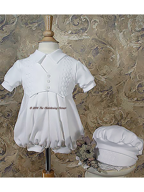 Cotton Interlock Windowpane Christening Romper