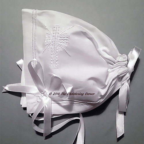 Classic Boys Cross Christening Bonnet