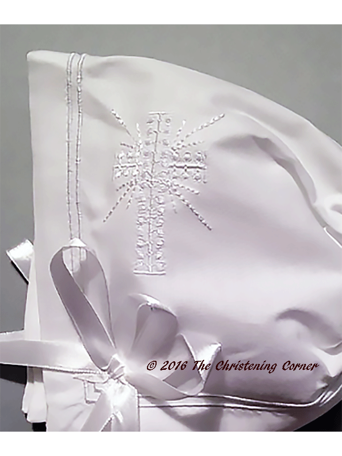 Classic Boys Cross Christening Bonnet - detail