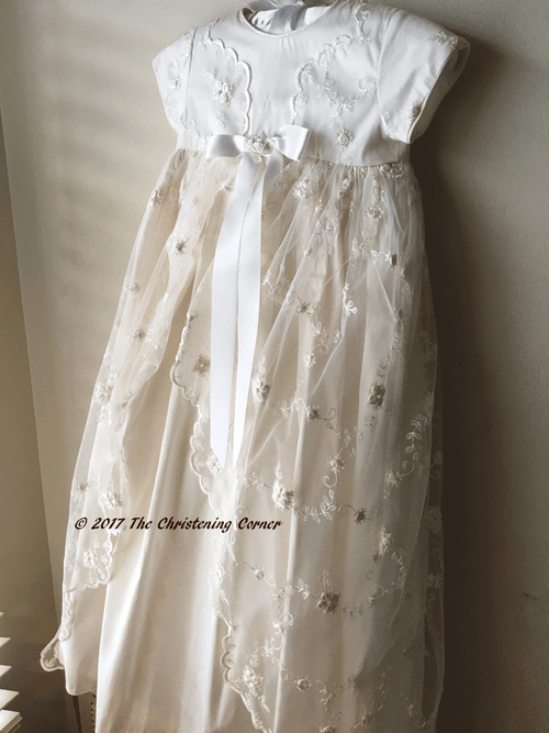 Sarah Louise Lace Overlay Silk Christening Gown