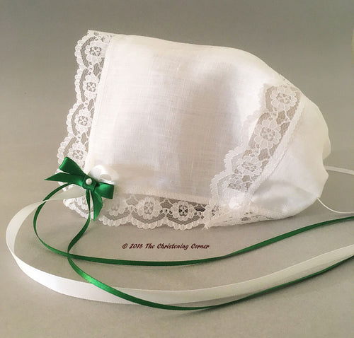Irish Linen Keepsake Christening Handkerchief Bonnet