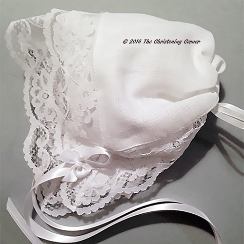 Bridal Dress Lace - Linen Hankie Bonnet
