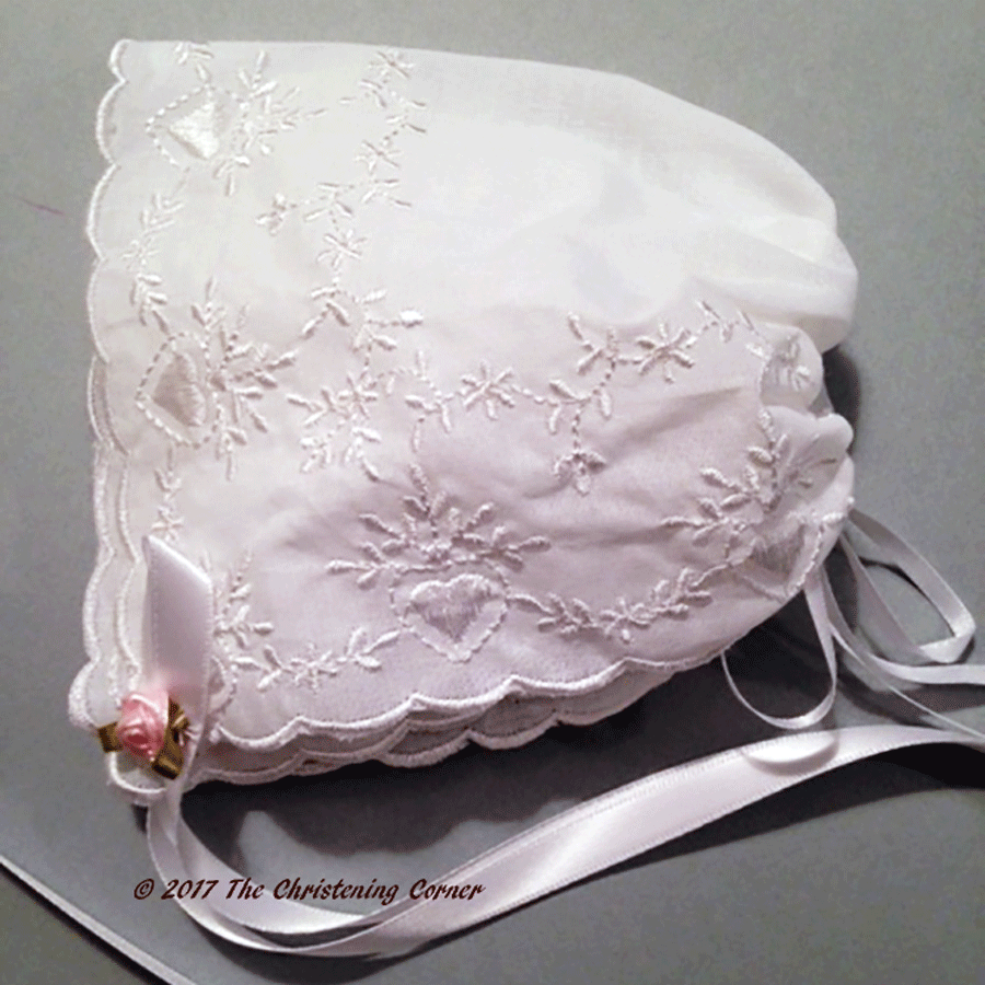 Bridal Heart Embroidered Hanky Bonnet - pink rose