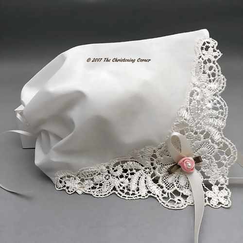French Guipure Bobbin Lace Bonnet