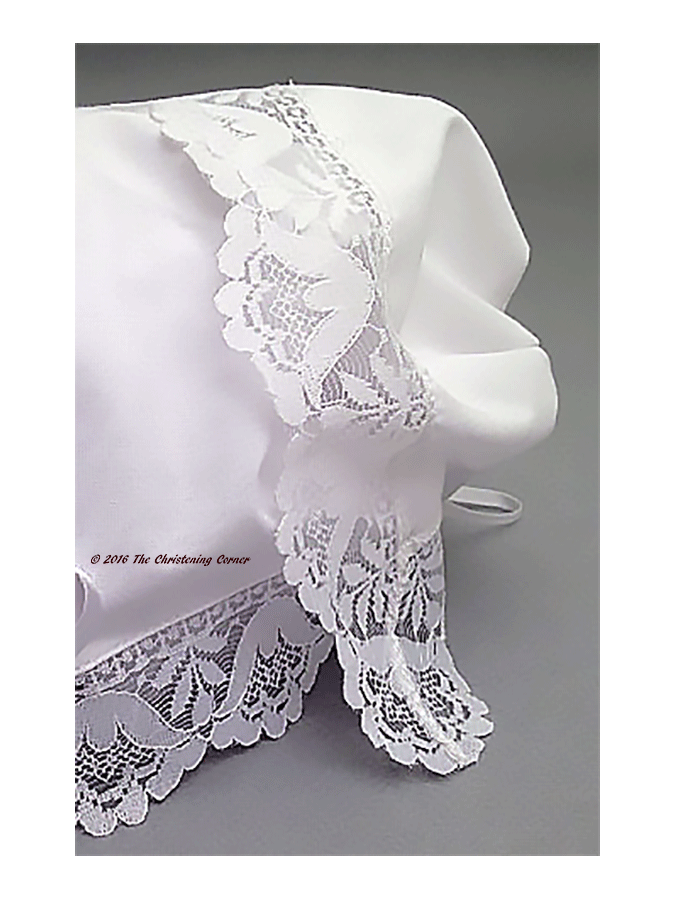 Garden Party Lace Baby Handkerchief Bonnet - back