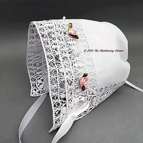 Little Princess Bridal Hanky Bonnet - Venise Lace