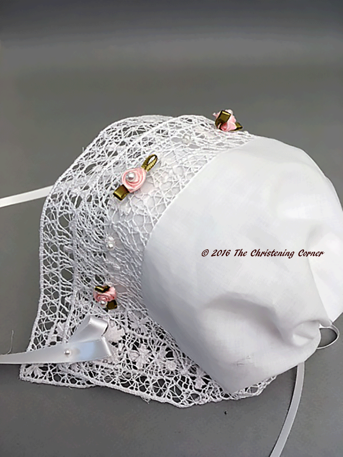 Little Princess Bridal Hanky Bonnet - Venise Lace - back