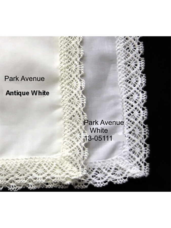 Park Avenue Lace Handkerchiefs - white or antique white