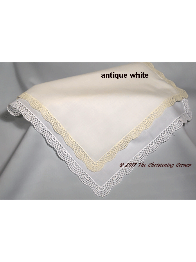 Shell Lace Handkerchief - white or antique white