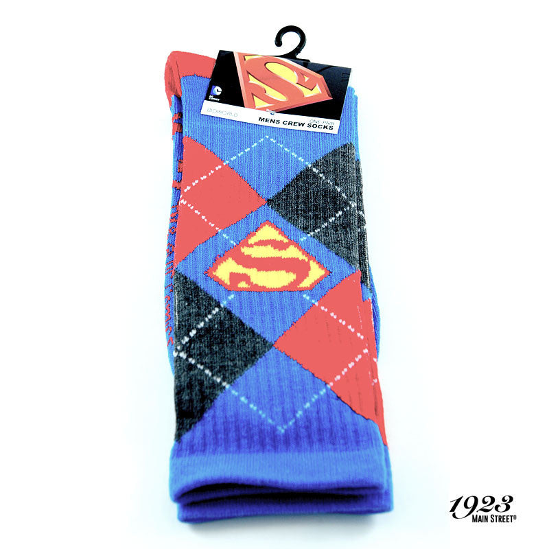 Superman Argyle Shield Men's Crew Socks