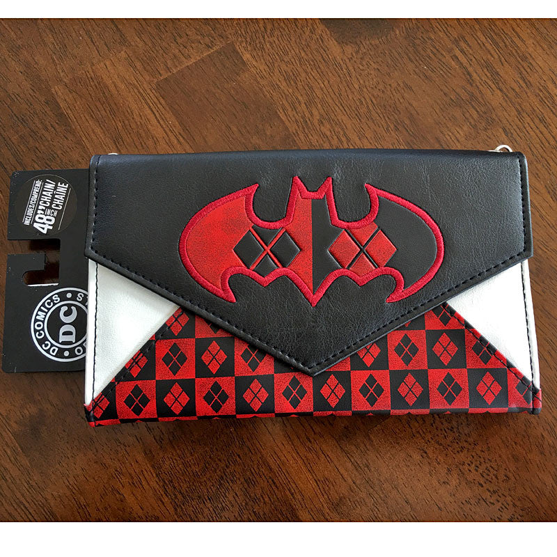 "Harley Quinn envelope wallet with 48"" chain"
