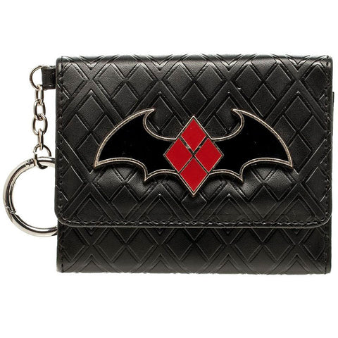 Harley Quinn Wallet - Mini Trifold with Bat Logo