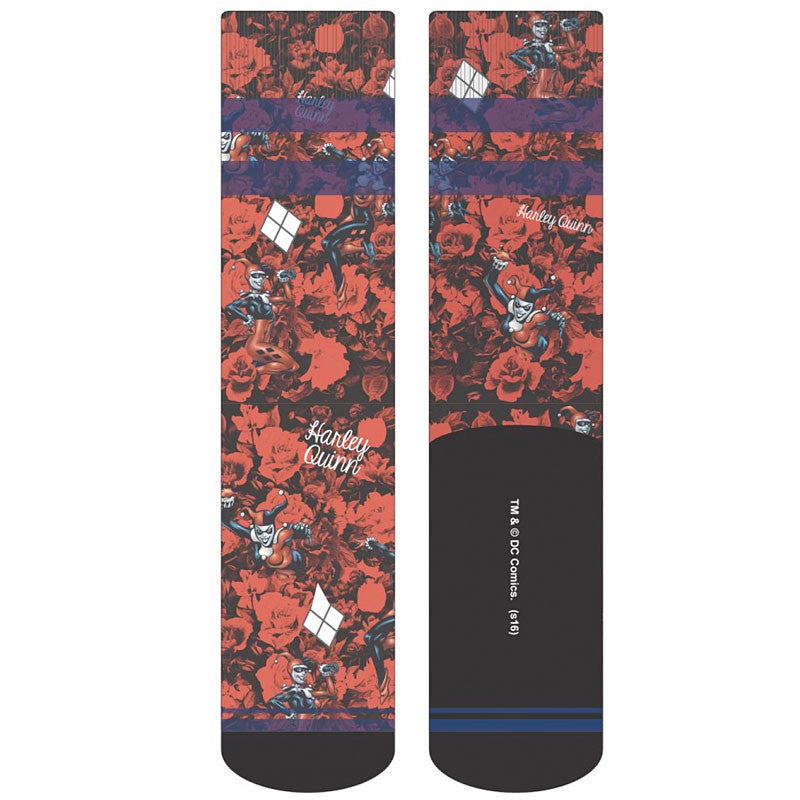 Harley Quinn Socks - Sublimated Crew Socks with Roses