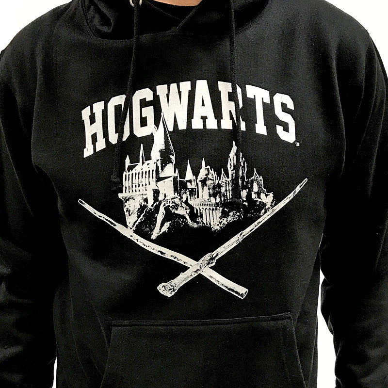 Harry Potter Hoodie, Black Pullover, Hogwarts Castle with Wands