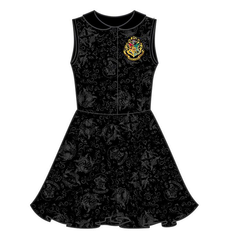 Harry Potter Hogwarts Dress with Crest and Peter Pan Collar