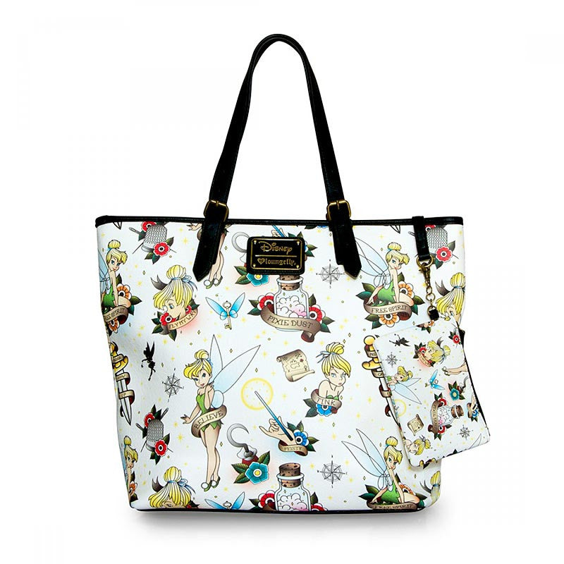 Disney Tinkerbell Tote with Tattoo Inspired Print by Loungefly