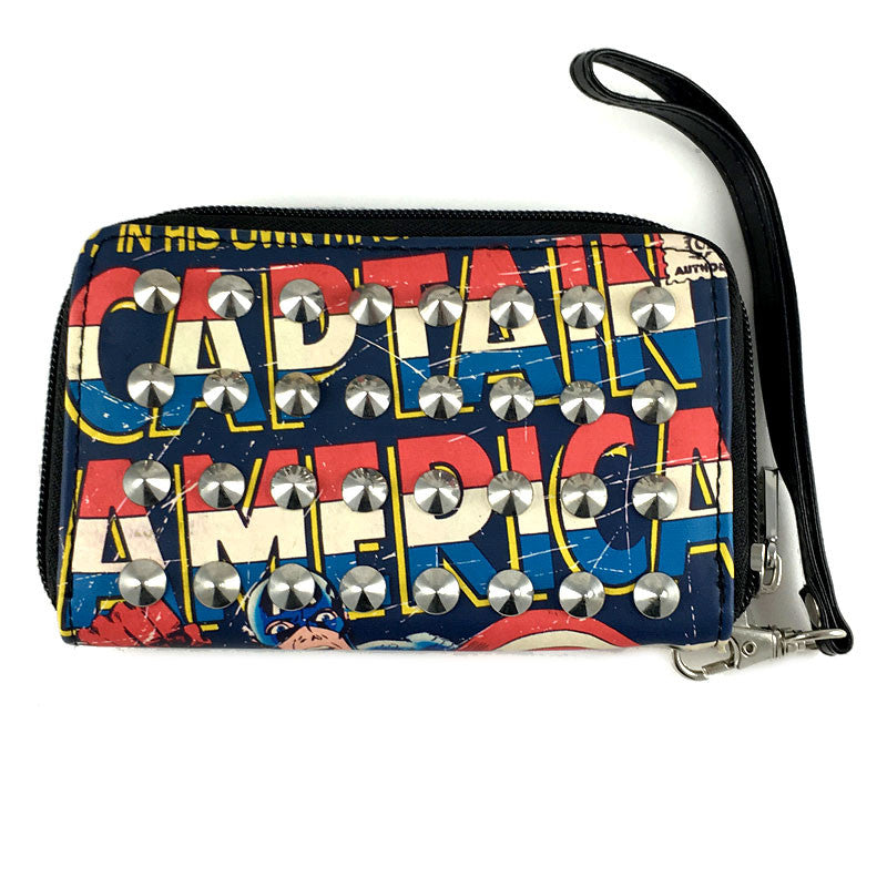 Captain America Wallet - Marvel Captain America Studded Ziparound Wallet