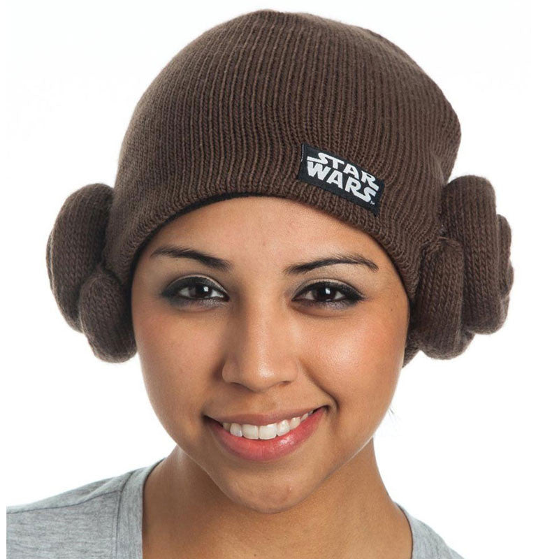 Star Wars Princess Leia Beanie Knit hat in brown